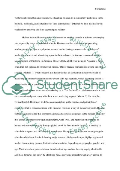 Analyze the Book School Commercialism by Molnar essay example