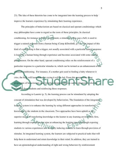 Are behaviourist principles still relevant in contemporary classrooms essay example