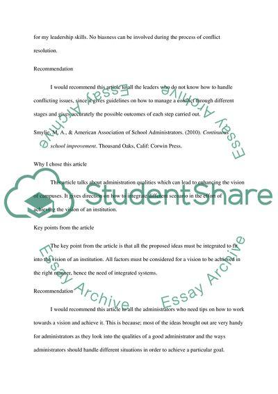 Campus Culture, Vision, Conflict Resolution, or Campus Improvement