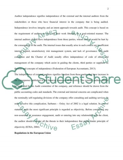 Envalue the Auditor Independence Provisions essay example