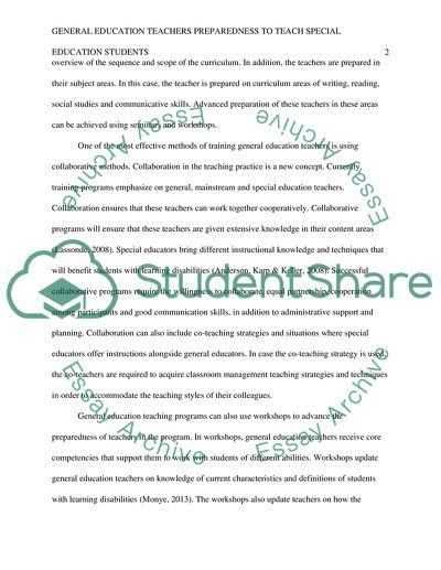 General Education Teachers Preparedness to Teach Special Education Students
