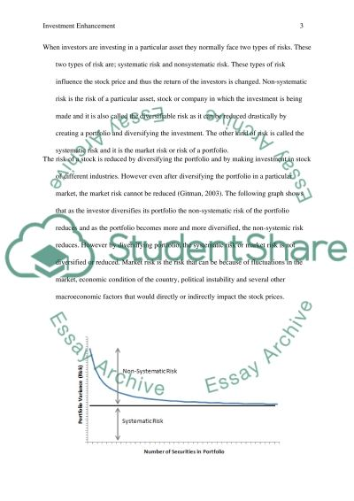 Investment Enhancement Paper Essay example