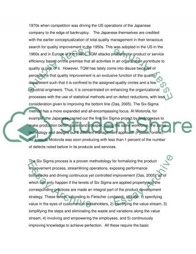 Six Sigma: A Business Process Improvement Method essay example