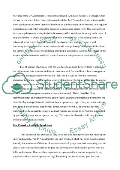 Gun control : for and against essay example
