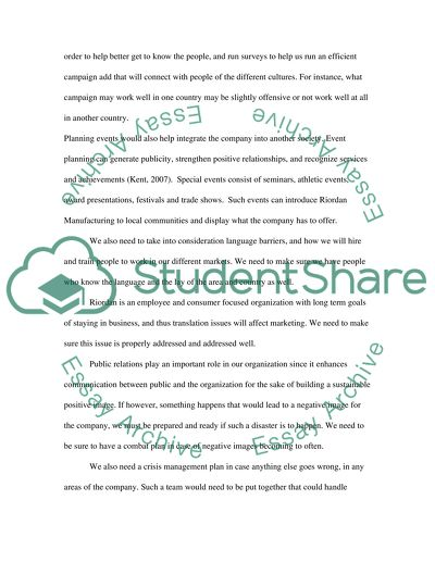 PR campaign Essay Example   Topics and Well Written Essays - 500 words