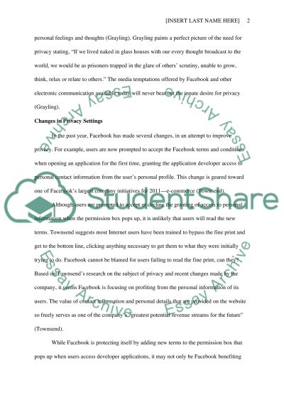 Facebook- The Question of Privacy essay example