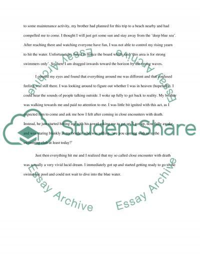 NARRATIVE story essay example