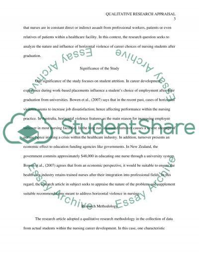 Qualitative Research Report Summary & Critical Appraisal