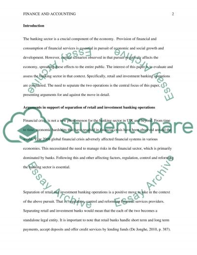 Separation of Retail and Investment Banking Operations essay example