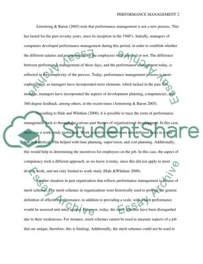 Performance Management Essay example