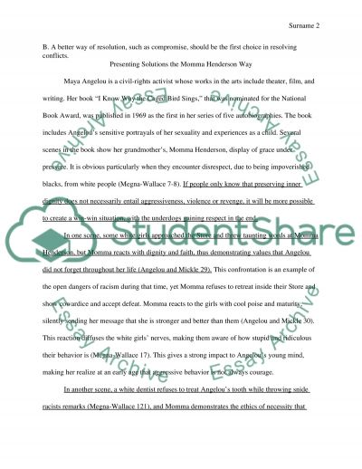 Problem-Solution outline and essay based on the novel I Know Why the Caged Bird Sings by Maya Angelou essay example