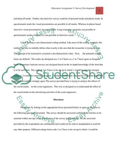 Assignment 3: Survey Development