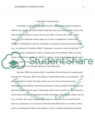 Leadership & Communication Research Paper
