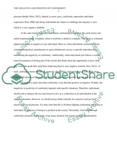 the negative and positive of conformity essay example topics and   text preview