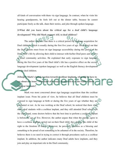 Deaf culture. This paper contains answers for three questions about Deaf Again Book essay example