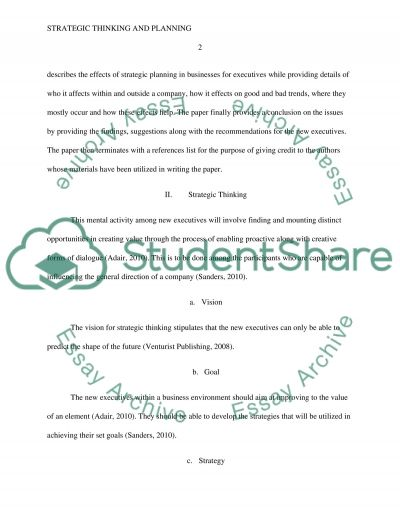 Strategic Thinking and Planning a Guideline for New Executives essay example