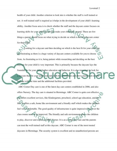 Daycare Center essay example
