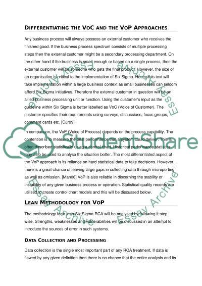 Six Sigma essay example