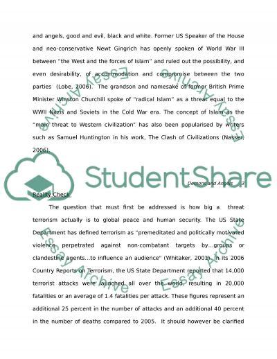 Religious Terrorism Essay essay example