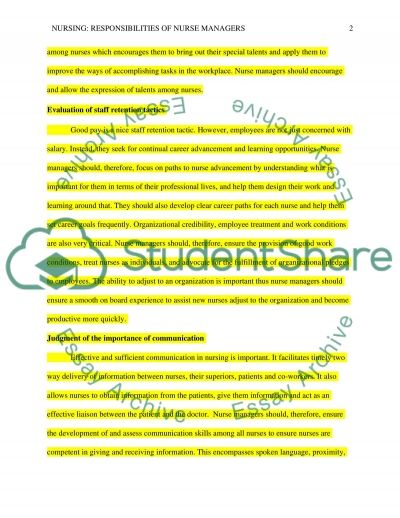 The Responsibilities of Nurse managers essay example