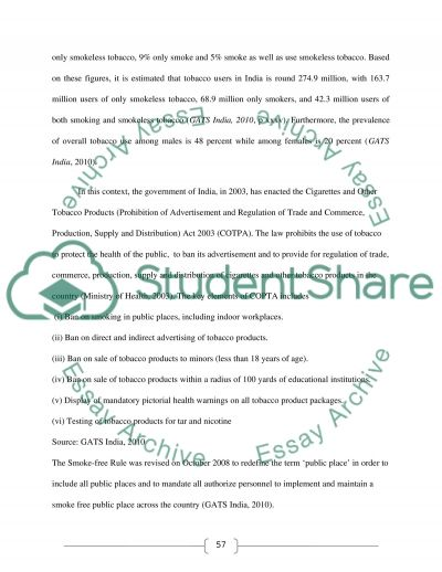 INFLUENCE OF INTERVENTION ON MEDIA RELATING TO TOBACCO CONTROL ISSUES IN INDIA essay example