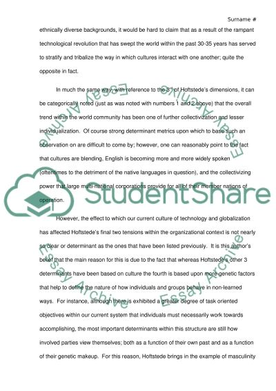 Hofstede Studies essay example