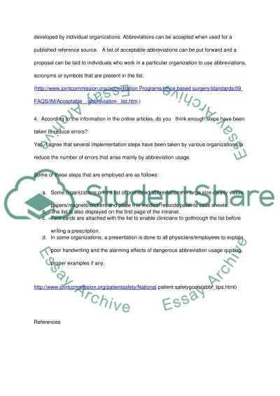 Medical Terminology Essay example