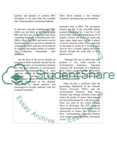 BPA in composites and plastic bottles essay example