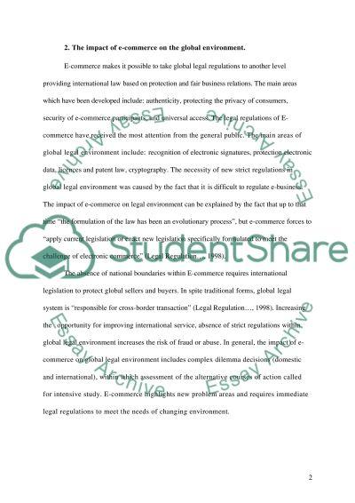 Electronic Commerce Response essay example