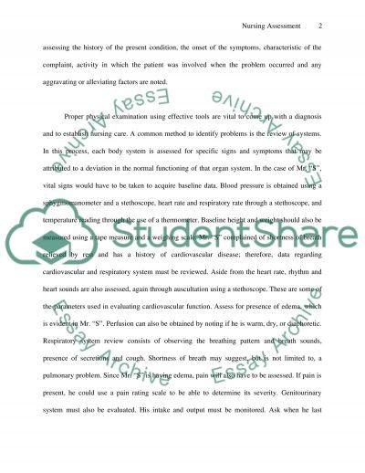 Nursing Asssessment-Focus scenario essay example