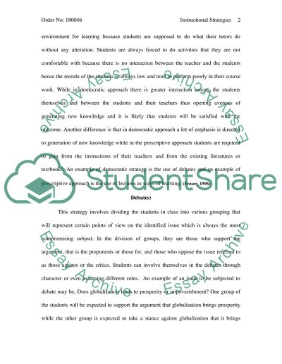 Instructional Strategies Essay