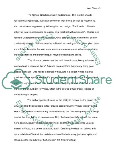 Aristotles ethics: From Virtue to Friendship, the Golden Mean essay example