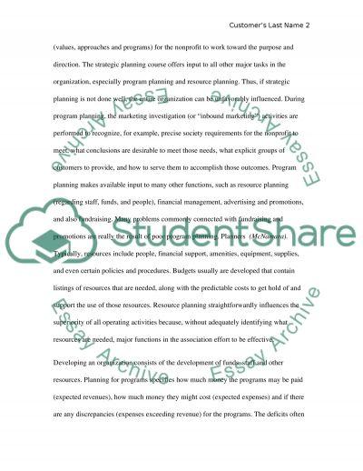 Managing non-profit organizations essay example