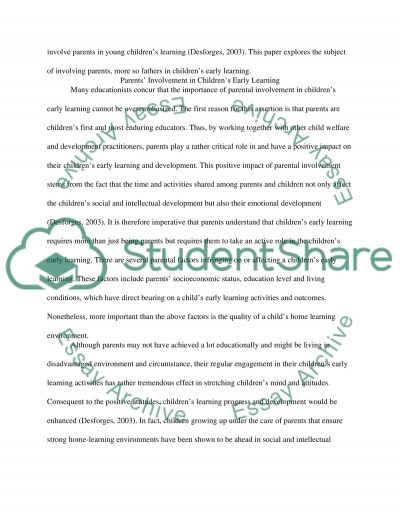 Engaging Parents in Their Childrens Early Learning essay example
