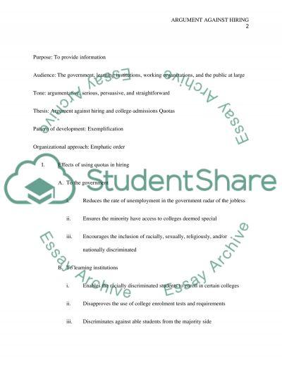 Argument against Hiring and College-Admissions Quotas essay example