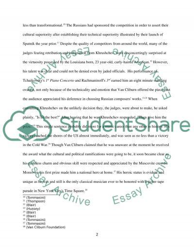 History Essay Subject Van Cliburn essay example