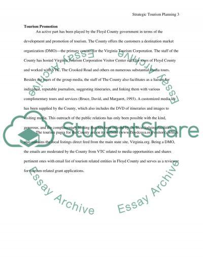 Strategic tourism planning essay example