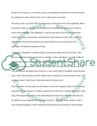 The Yellow Wallpaper Critical Essay Compare Ode To A Nightingale And A Draught Of Sunshine By John Keats High School Narrative Essay Examples also Health Awareness Essay Compare Ode To A Nightingale And A Draught Of Sunshine By John Keats  High School Essay Format