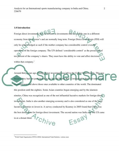 Sports Manufacturing in India and China essay example