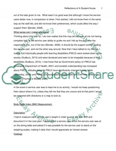 Reflections of a Student Nurse Essay example