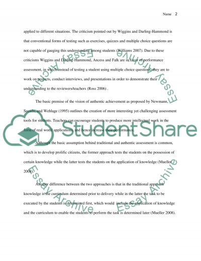 Student Assessment essay example