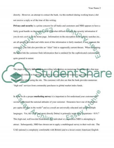 Ecommerce Assignment  (National Bank of Dubai) Essay example