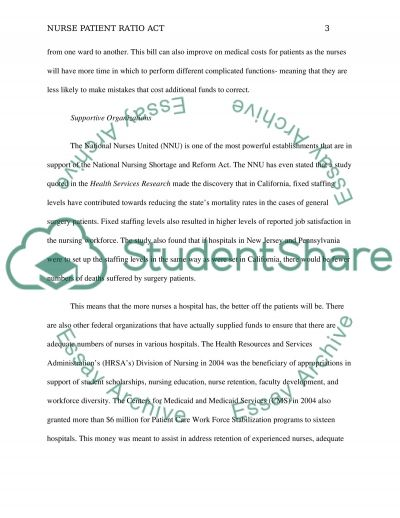 Nurse patient ratio act essay example