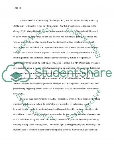 Attention Deficit Hyperactivity Disorder essay example