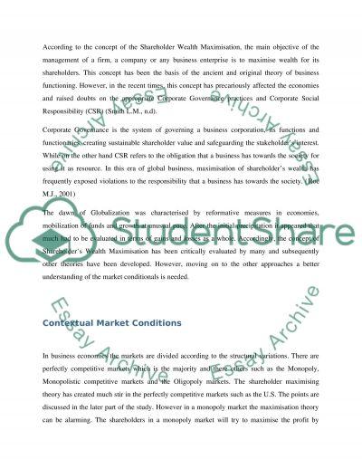 Shareholder Wealth Maximisation essay example