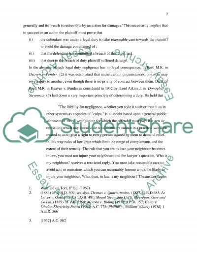 Tort Coursework Resit essay example