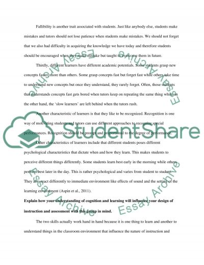 Learning and Assessment Basics essay example