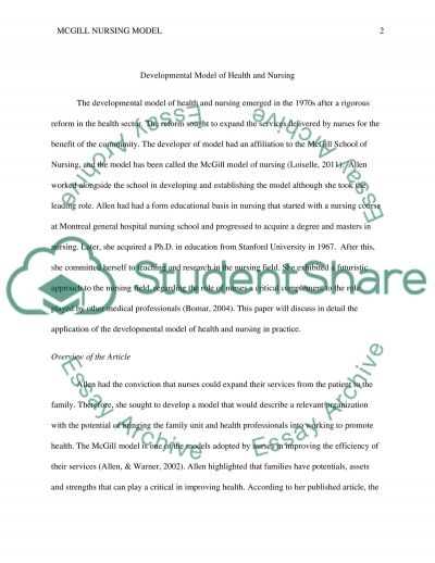 Developmental Model of Health and Nursing Essay example