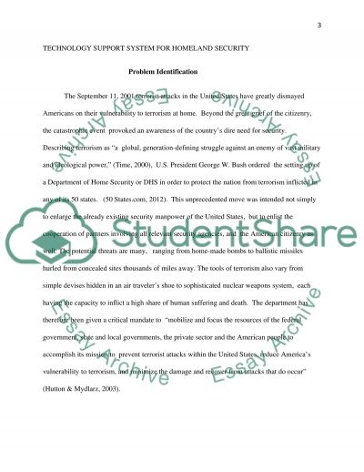 Technology Support System For Homeland Security Program essay example