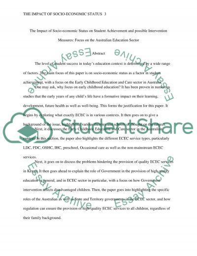 The Impact of Socio-economic Status on Student Achievement and possible Intervention. Focus Australian education essay example